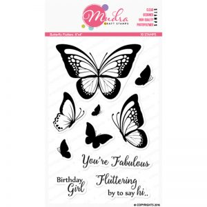butterfly flutters design photopolymer stamp for crafts, arts and DIY by Mudra