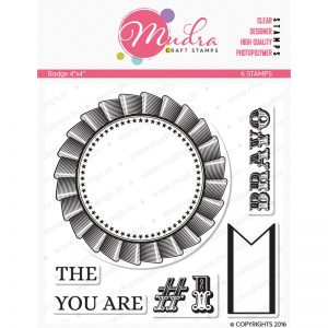 badge design photopolymer stamp for crafts, arts and DIY by Mudra