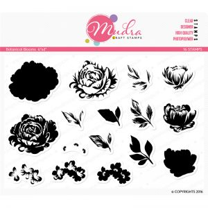 botonical blooms design photopolymer stamp for crafts, arts and DIY by Mudra