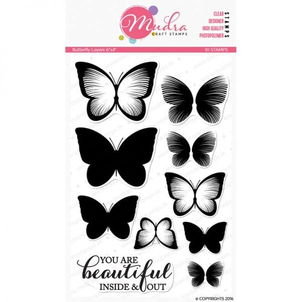 butterfly layers design photopolymer stamp for crafts, arts and DIY by Mudra