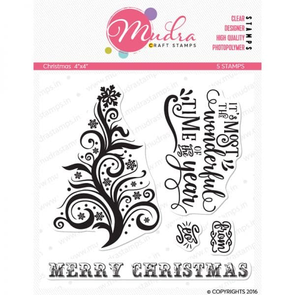 christmas design photopolymer stamp for crafts, arts and DIY by Mudra