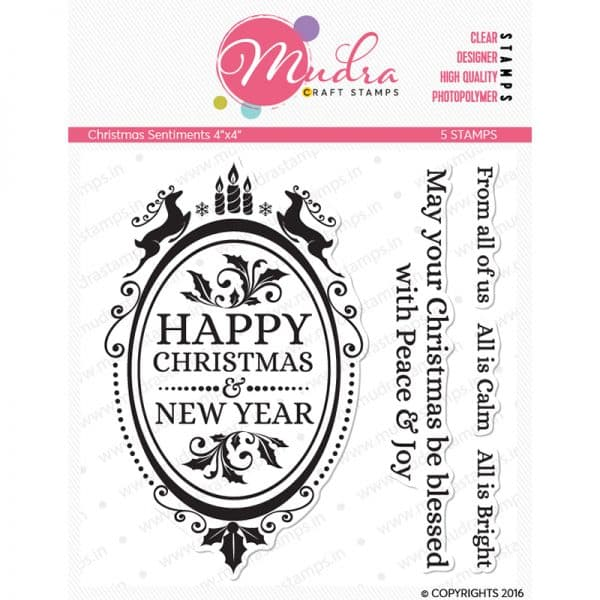 christmas sentiments design photopolymer stamp for crafts, arts and DIY by Mudra