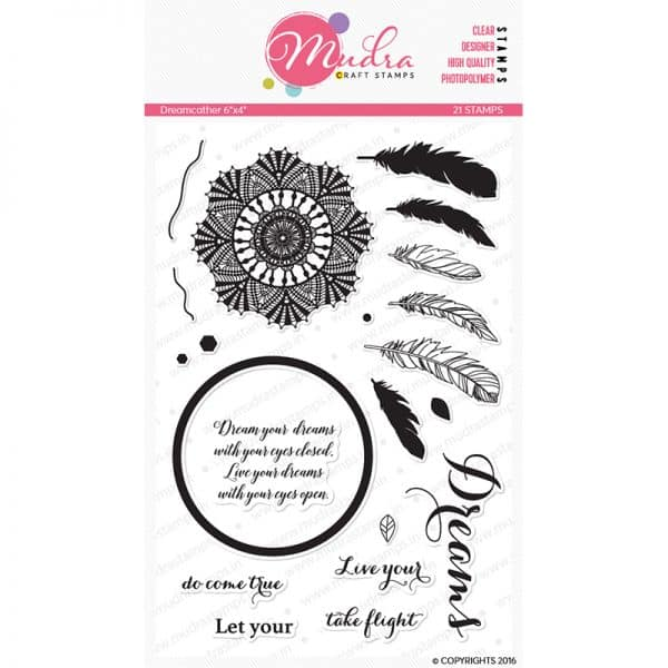 dream catcher design photopolymer stamp for crafts, arts and DIY by Mudra