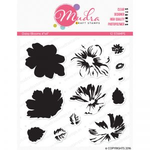 daisy blooms design photopolymer stamp for crafts, arts and DIY by Mudra