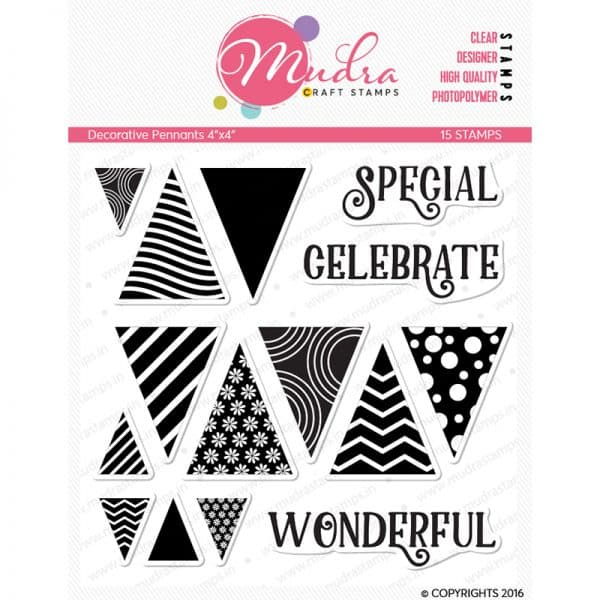 decorative pennants design photopolymer stamp for crafts, arts and DIY by Mudra