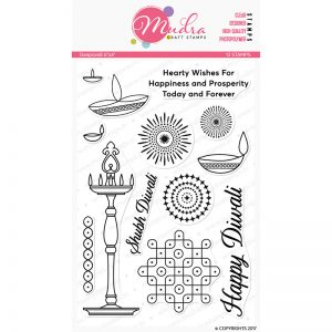 deepavali design photopolymer stamp for crafts, arts and DIY by Mudra