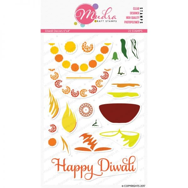 diwali decors design photopolymer stamp for crafts, arts and DIY by Mudra