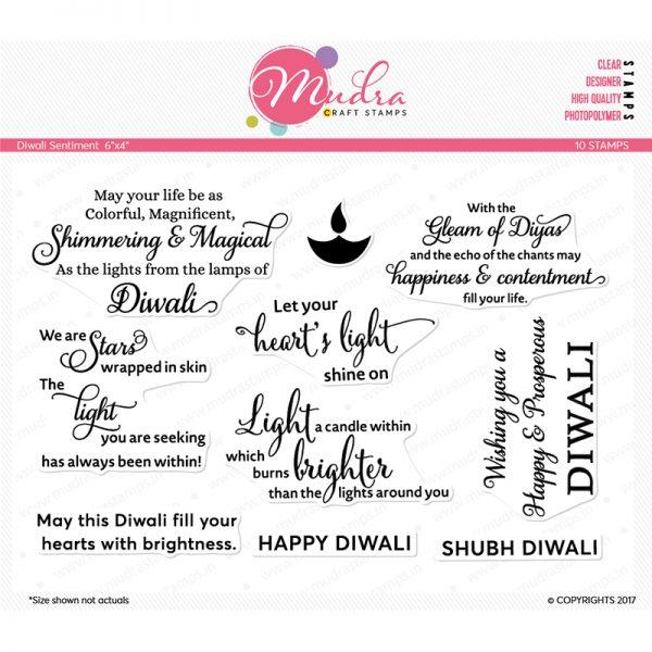 diwali sentiment design photopolymer stamp for crafts, arts and DIY by Mudra