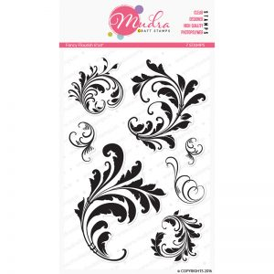 fancy flourish design photopolymer stamp for crafts, arts and DIY by Mudra