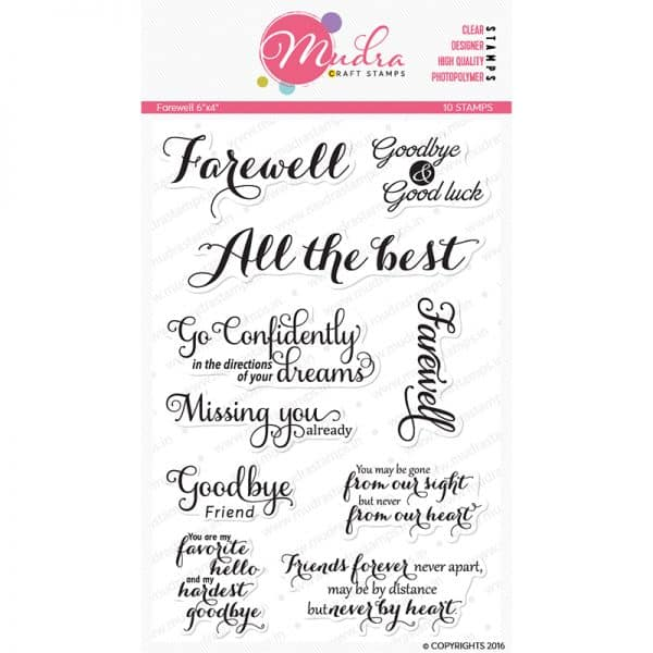 farewell design photopolymer stamp for crafts, arts and DIY by Mudra