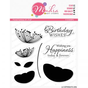 floral fantasy design photopolymer stamp for crafts, arts and DIY by Mudra