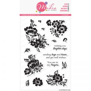floral sillhoute design photopolymer stamp for crafts, arts and DIY by Mudra