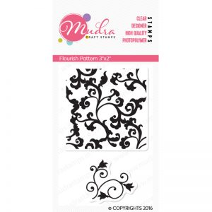 flourish pattern design photopolymer stamp for crafts, arts and DIY by Mudra
