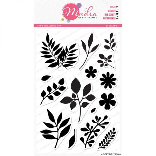 ferns and leaves design photopolymer stamp for crafts, arts and DIY by Mudra