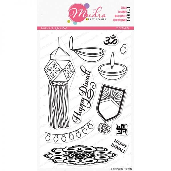 festival of lights design photopolymer stamp for crafts, arts and DIY by Mudra