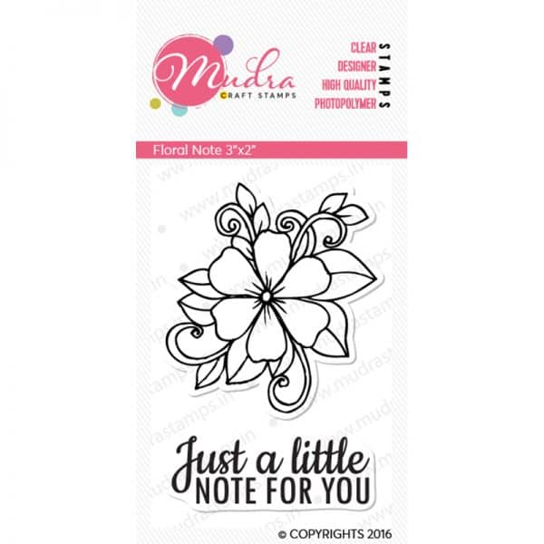 floral note design photopolymer stamp for crafts, arts and DIY by Mudra