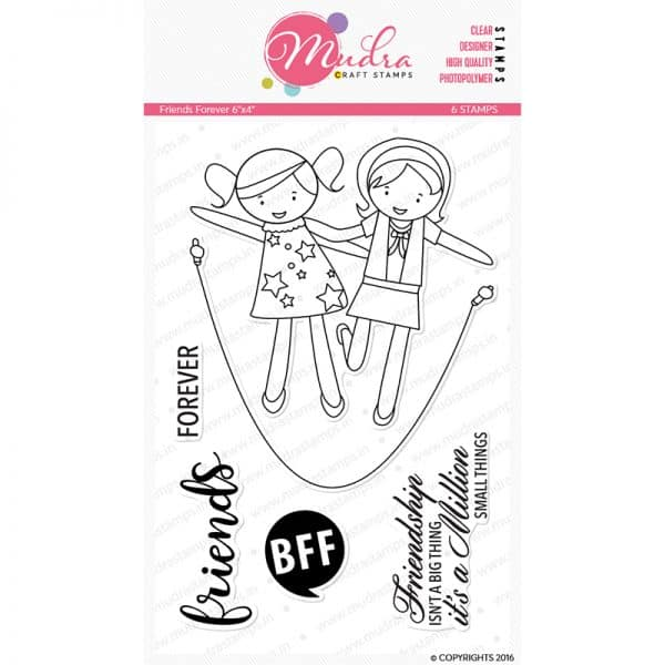 friends forever design photopolymer stamp for crafts, arts and DIY by Mudra