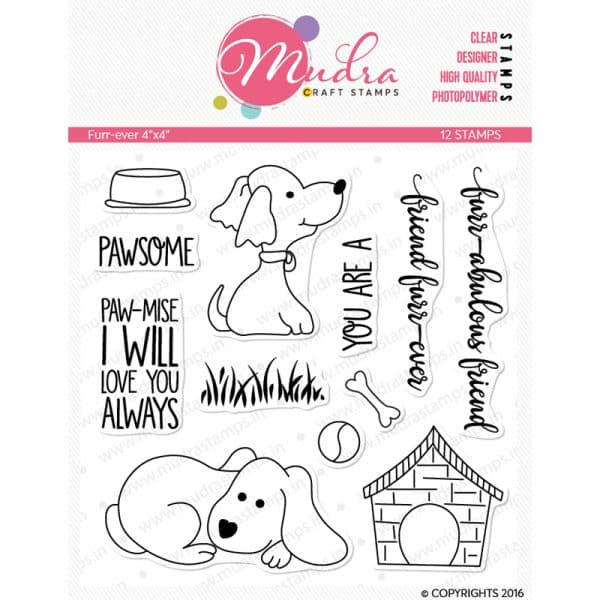 furry friend design photopolymer stamp for crafts, arts and DIY by Mudra