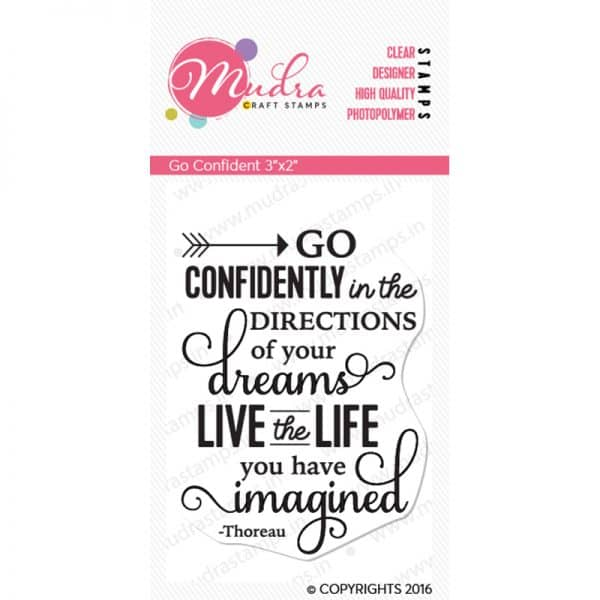 go confident design photopolymer stamp for crafts, arts and DIY by Mudra