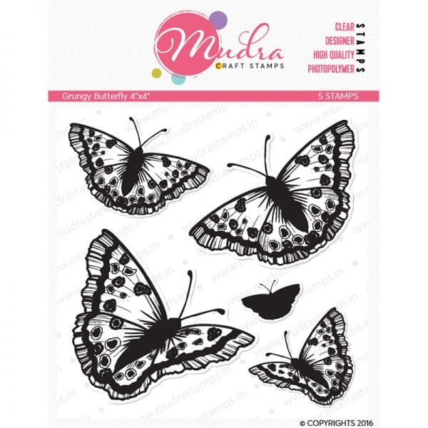 grungy butterfly design photopolymer stamp for crafts, arts and DIY by Mudra