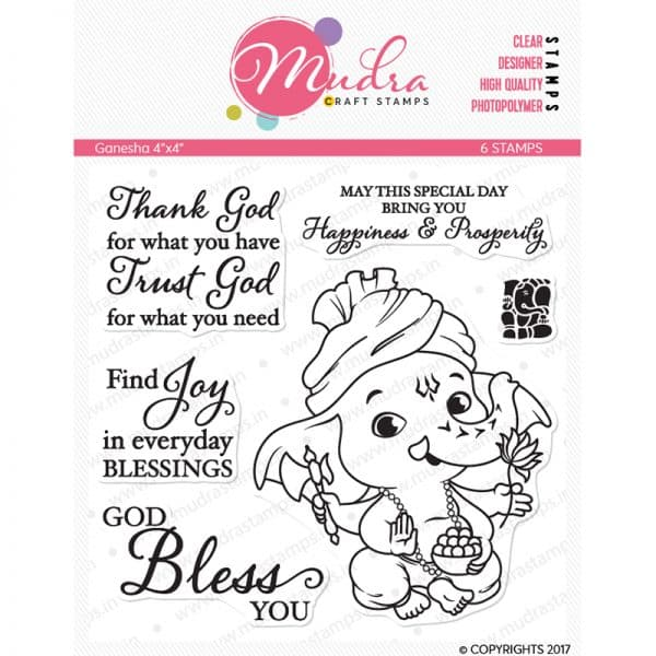 ganesha design photopolymer stamp for crafts, arts and DIY by Mudra