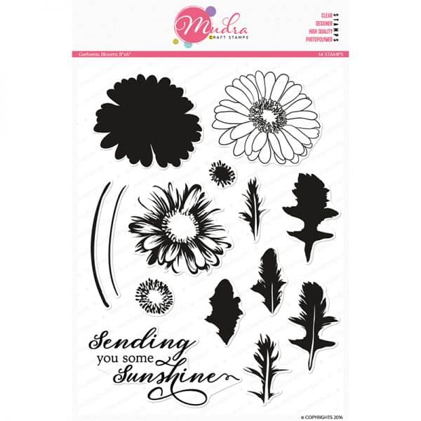 gereberas blooms design photopolymer stamp for crafts, arts and DIY by Mudra