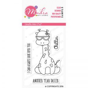 Giraffe Mini design photopolymer stamp for crafts, arts and DIY by Mudra