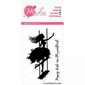happy girl design photopolymer stamp for crafts, arts and DIY by Mudra