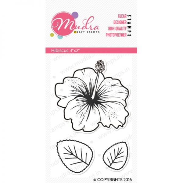 hibiscus design photopolymer stamp for crafts, arts and DIY by Mudra