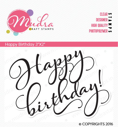 happy birthday design photopolymer stamp for crafts, arts and DIY by Mudra