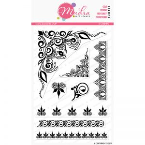 henna elements design photopolymer stamp for crafts, arts and DIY by Mudra