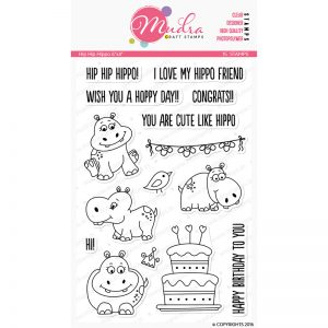 hip hip hippo design photopolymer stamp for crafts, arts and DIY by Mudra