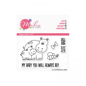 Hippo Baby design photopolymer stamp for crafts, arts and DIY by Mudra