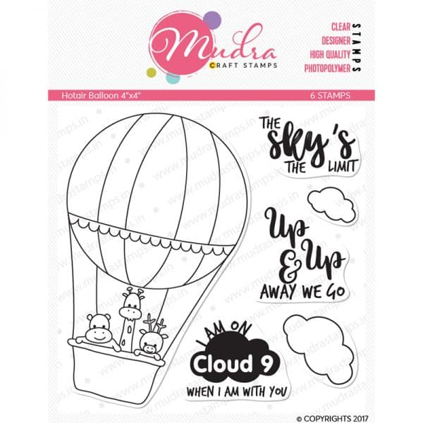hot air balloon design photopolymer stamp for crafts, arts and DIY by Mudra