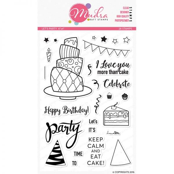 let's party design photopolymer stamp for crafts, arts and DIY by Mudra