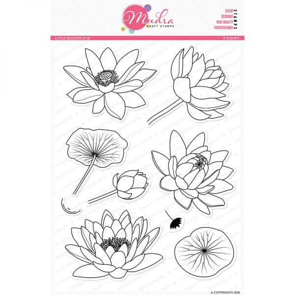 lotus blooms design photopolymer stamp for crafts, arts and DIY by Mudra