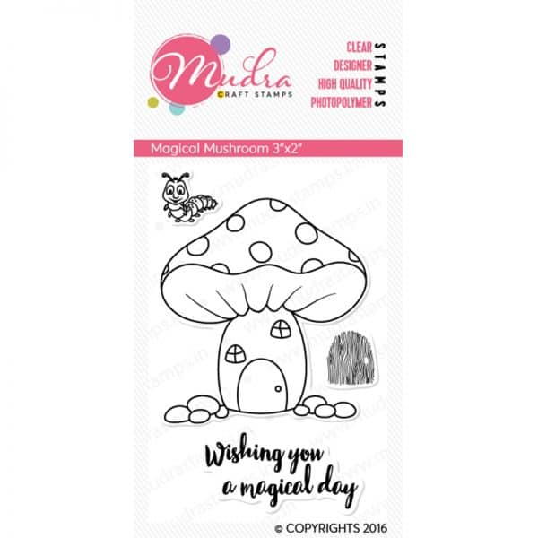magical mushroom design photopolymer stamp for crafts, arts and DIY by Mudra