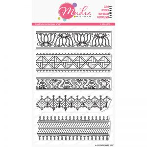 madhubani borders design photopolymer stamp for crafts, arts and DIY by Mudra