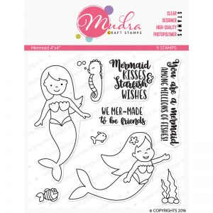mermaid design photopolymer stamp for crafts, arts and DIY by Mudra