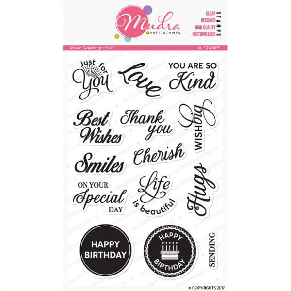 mixed greetings design photopolymer stamp for crafts, arts and DIY by Mudra