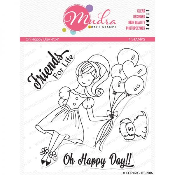 oh happy day design photopolymer stamp for crafts, arts and DIY by Mudra