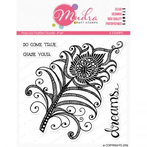peacock feather doodle design photopolymer stamp for crafts, arts and DIY by Mudra