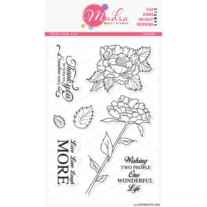 peony love design photopolymer stamp for crafts, arts and DIY by Mudra