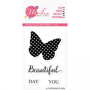 polka dot butterfly design photopolymer stamp for crafts, arts and DIY by Mudra