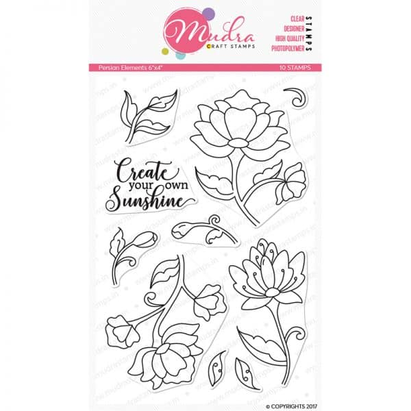 persian floral design photopolymer stamp for crafts, arts and DIY by Mudra