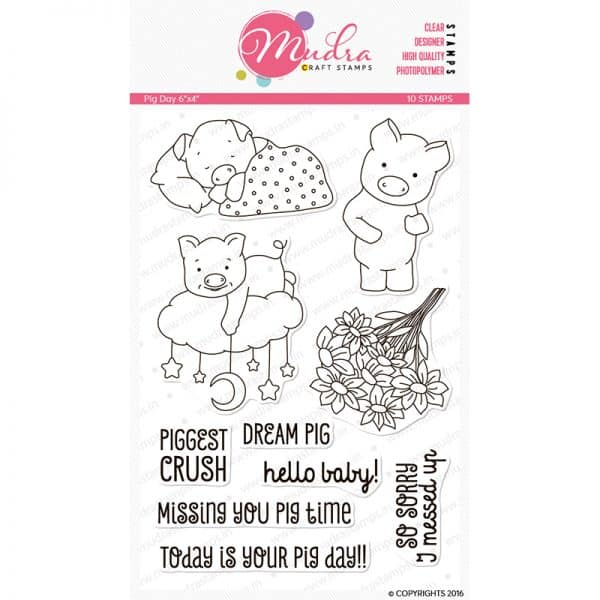 pig day design photopolymer stamp for crafts, arts and DIY by Mudra