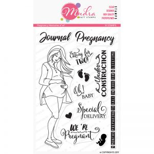 pregnancy memories design photopolymer stamp for crafts, arts and DIY by Mudra