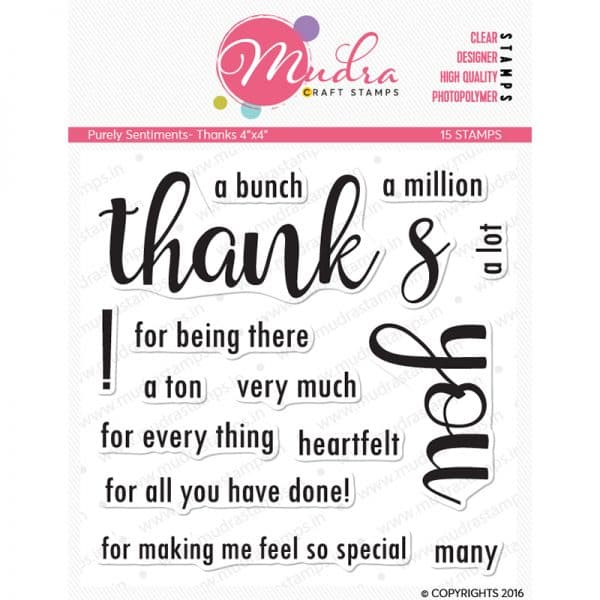 Thanks design photopolymer stamp for crafts, arts and DIY by Mudra
