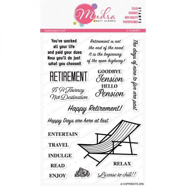 retirement design photopolymer stamp for crafts, arts and DIY by Mudra