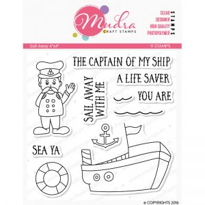 sail away design photopolymer stamp for crafts, arts and DIY by Mudra